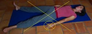 Savasana : position incorrecte : les paumes des mains sont tournées vers le bas, les épaules sont fermées